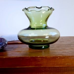antique green glass small dainty bud vase